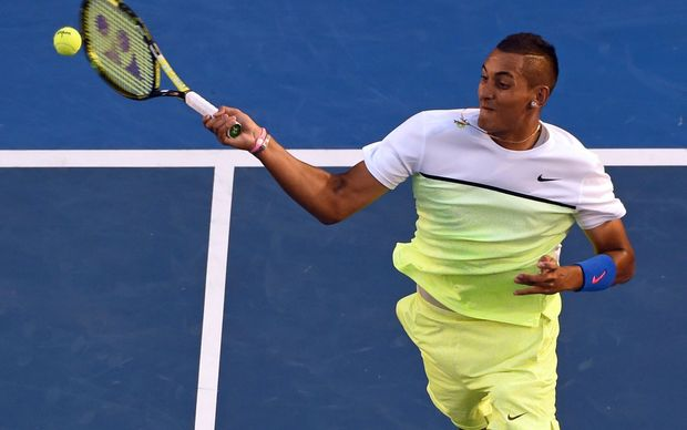 Nick Kyrgios plays a shot against Andy Murray at the 2015 Australian Open.