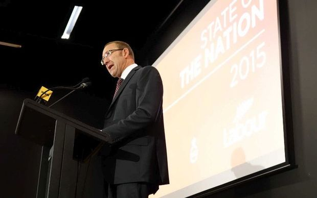 Labour leader Andrew Little - pictured during his speech today in Auckland