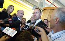 Andrew Little is questioned by reporters after delivering his speech.