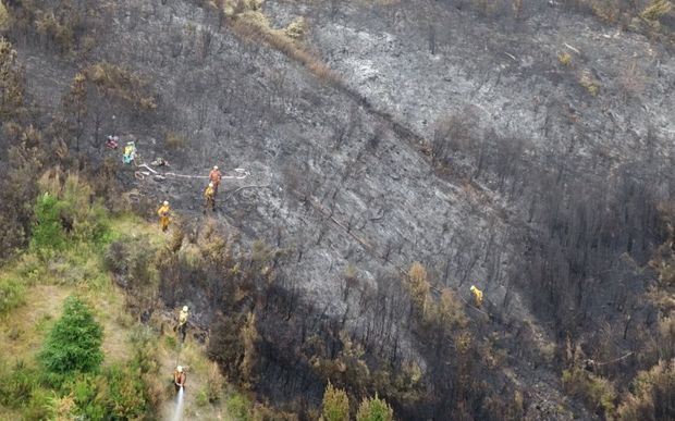 Ground crews tackled the perimeter of  the blaze.