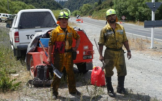 DOC fire fighters Anthony Duncan (Right) and Andrew Jollieffe (left) who have been fighting the Arthur's Pass fire.