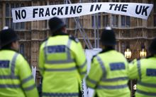 A protest against hydraulic fracturing for shale gas in London on 1 December 2012.
