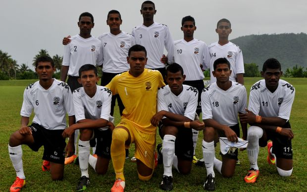 Shalit Muni Reddy with his Fiji Under 17 teammates before a match at the Oceania Championship.