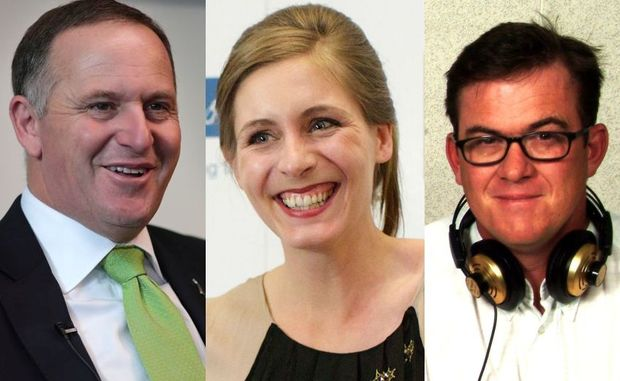 Cattongate: John Key (L), Eleanor Catton, Sean Plunket (R)