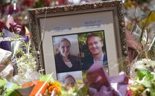 Photos showing Katrina Dawson (L) and Tori Johnson (R) sit amongst floral tributes outside the Lindt cafe in Sydney's Martin Place.