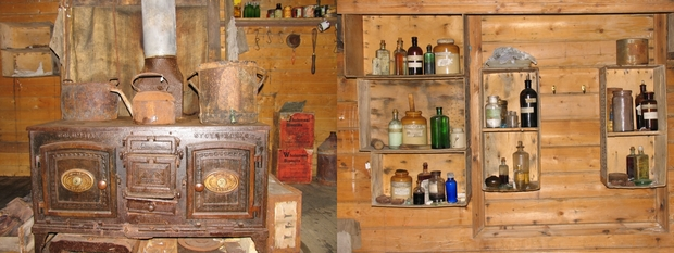 Images from inside Shackleton's hut at Cape Royds.