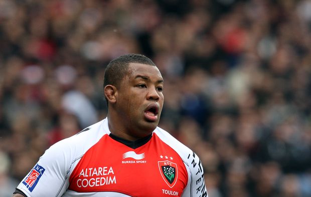 Steffon Armitage of Toulon catches his breath during a French Top 14 Rugby match.