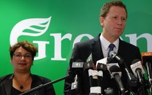Metiria Turei and  Russel Norman at this morning's press conference.