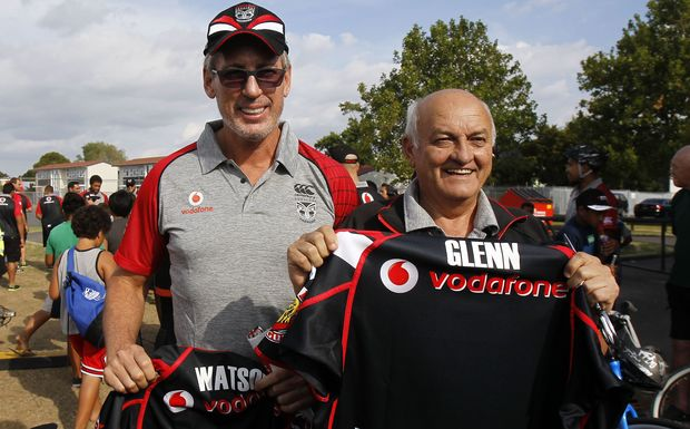 In happier times - Warriors owners Sir Owen Glenn (right) and Eric Watson.