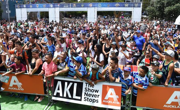 Fans at the NRL Auckland Nines fanzone in Aotea Square.