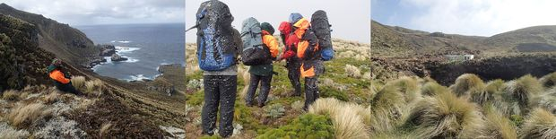 Antipodes Island scenery: view down to South Bay; expedition members waiting out a snow squall; and view of the hut and the large peat slip that came down the hill behind in January 2014.
