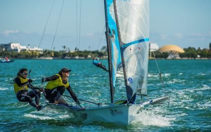 Polly Powrie and Jo Aleh in action in Miami