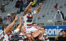 Isaac Luke is lifted by his Rabbitohs team-mates after their win at the NRL Auckland Nines.