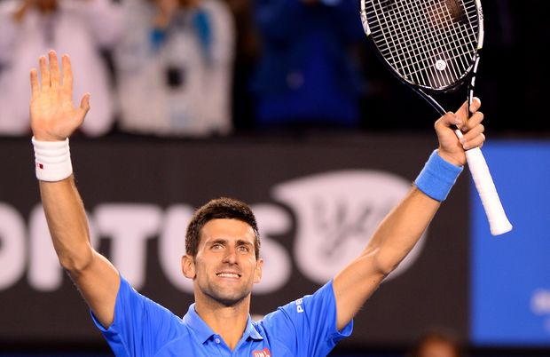 Serbian tennis player Novak Djokovic celebrates his win at the 2015 Australian Open.