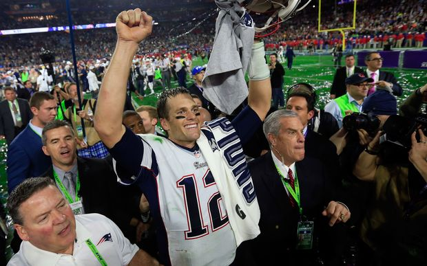 Tom Brady celebrates the New England Patriots' win over the Seattle Seahawks in Super Bowl XLIX.