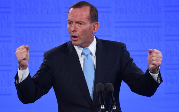 Prime Minister Tony Abbott speaks at The National Press Club in Canberra.
