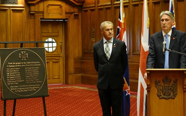 British Foreign Secretary Philip Hammond presenting WW1 Victoria Cross plaque to New Zealand's speaker, David Carter at Parliament.