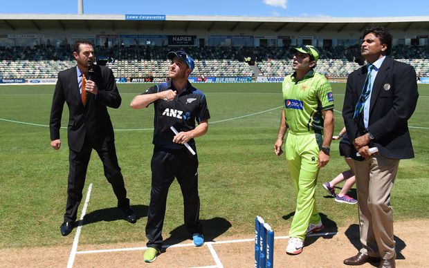 Brendon McCullum wins the toss at McLean Park
