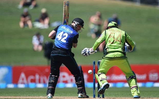 Brendon McCullum plays onto his own stumps in Napier