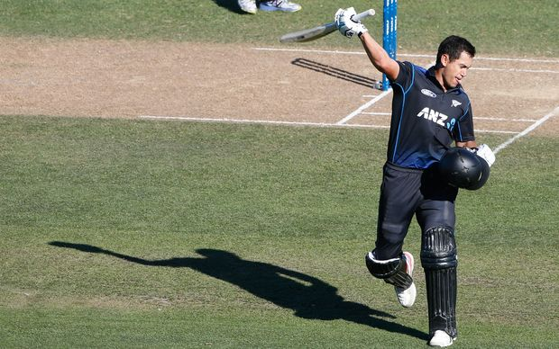 Ross Taylor celebrates his century on the last ball.