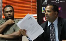 Fiji TV director and CEO of Fijian Holdings Nouzab Fareed, right, and acting CEO of Fiji TV, Geoffrey Smith.