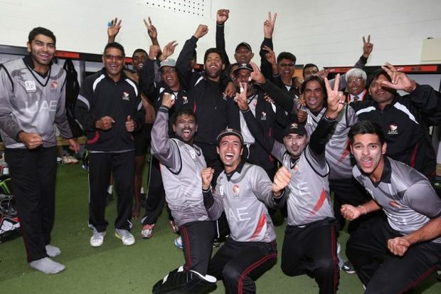 UAE cricketers celebrate qualifying for the World Cup.