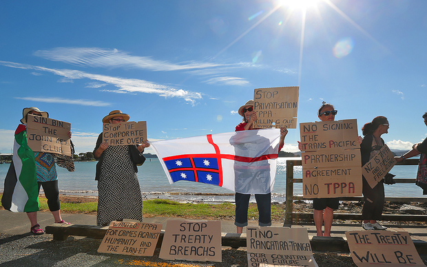 Protesters gather at Waitangi