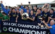 Auckland City celebrate beating Amicale FC in the final of the 2014 Oceania Champions League.