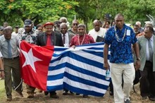 The United Liberation Movement for West Papua converges on the Melanesian Spearhead Group secretariat to submit its formal membership application.
