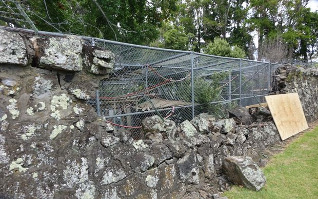 The collapsed wall at Auckland Zoo, along Old Mill Road.