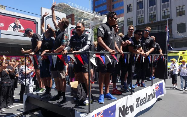 The New Zealand sevens team during the Wellington parade.