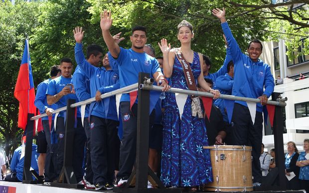 The Samoan sevens team during the Wellington parade.