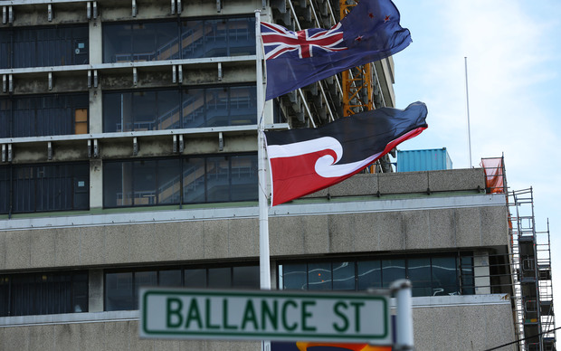 New Zealand and Maori flag flying in Wellington.
