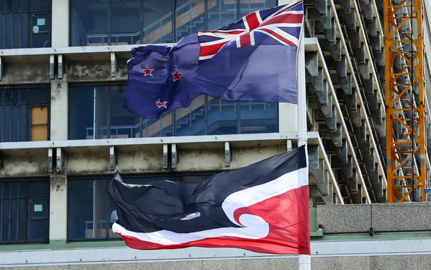 The New Zealand and Tino Rangatiratanga flags flying in Wellington.