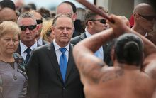 John Key is welcomed to Te Tii Marae