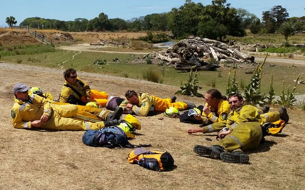 Firefighers from Ashburton wait to be deployed.