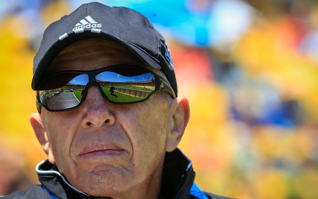 All Blacks Sevens coach Sir Gordon Tietjens watches on in Wellington