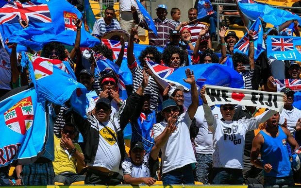 Fiji fans. Day one of the HSBC Sevens, Westpac Stadium, Wellington.
