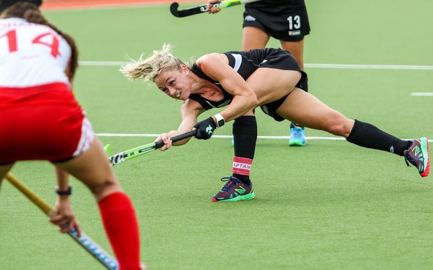 Black Sticks captain Anita Punt scores one of her four penalty corners against Canada