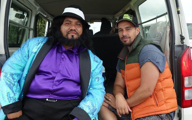 Writer / director Tearepa Kahi (right) and leading man Maaka Pohatu take a break from filming.
