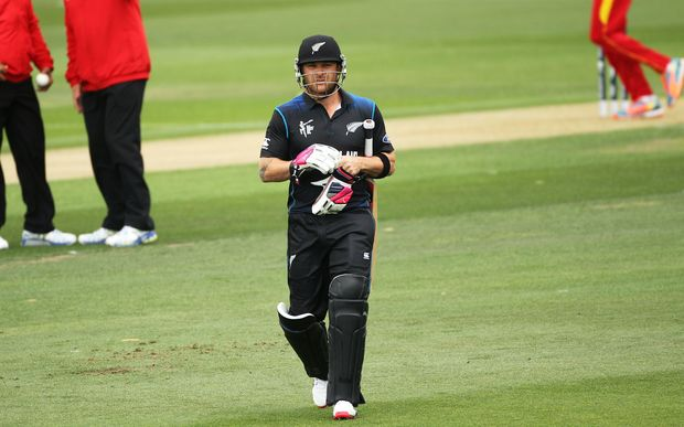 Brendon McCullum walks off after being dismissed at Lincoln