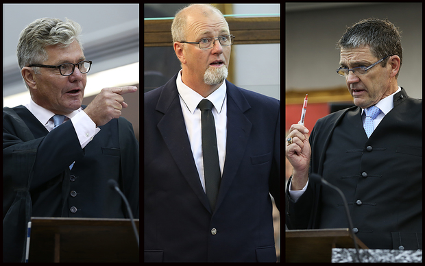 Left to right: Defence lawyer Ross Burns, Mark Lundy, Crown prosecutor Philip Morgan, QC