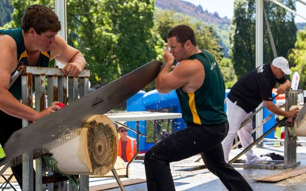 Jamie Head from Queensland (left) on his way to winning the individual ANZAXE Wood Chopping Trans Tasman title.