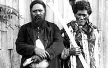 Mohi Tāwhai (right) holding his hoeroa and his son Hone, who went on to become an MP.