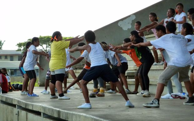 Youths attending an exercise class in Nuku'alofa. On Tonga's supermarket shelves, huge cans of corned beef the size of paint tins replaced traditional fare such as fish and coconuts long ago -- contributing to an obesity epidemic that sees the Pacific region ranked as the fattest in the world.