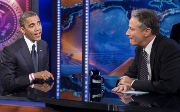 October 18, 2012: US President Barack Obama and host Jon Stewart speaking during a break in the live taping of Comedy Central's Daily Show.