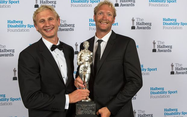 Hamish Bond (L) and Eric Murray after winning the Supreme Award at the Halbergs.