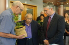 Kaumatua Rangikotuku Rukuwai (centre) blesses Hugh Johnson (left) and New Plymouth Mayor Andrew Judd following the handover of a petition likely to spark a referendum on the establishment of a designated seat for Maori on the council.