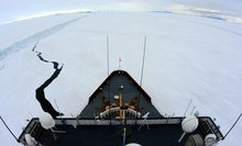 A file photo shows US Coastguard icebreaker Polar Star in action.