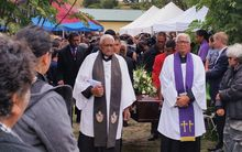 Ngati Porou leader Apirana Mahuika's tangi at Rahui Marae on the East Coast.